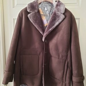 Men's Winter Brown Suede Car Coat Size XXL
